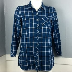 J.Jill Blue Plaid Cotton Tunic Top